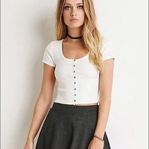 Forever 21 white ribbed button down crop tee